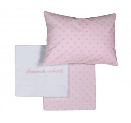 Σεντόνια Κούνιας (Σετ) Nef Nef Dream & Wishes Ροζ