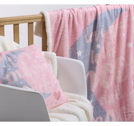 Κουβέρτα Fleece Λίκνου 75x110 Nef Nef Γουνακι Moon And Back Ροζ