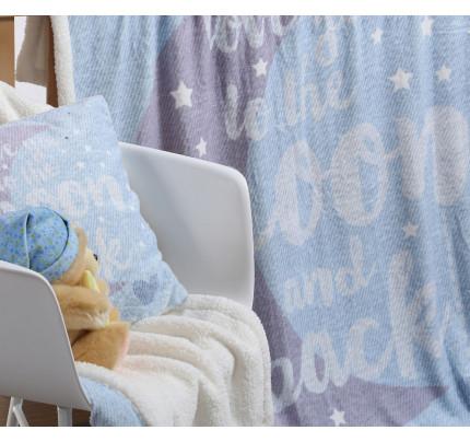 Κουβέρτα Fleece Λίκνου 75x110 Nef Nef Γουνακι Moon And Back Μπλε
