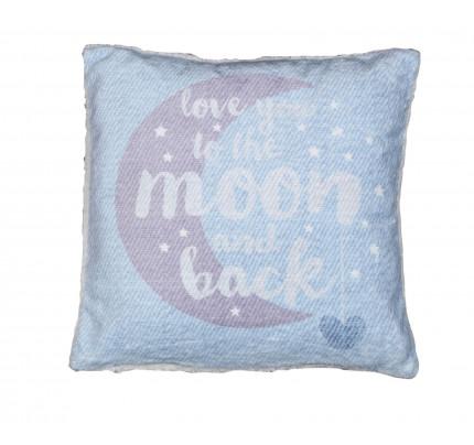 Διακοσμητικό Μαξιλάρι 40x40 Nef Nef Fleece Moon And Back Μπλε