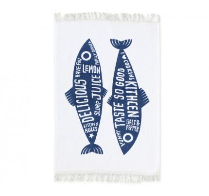 Ποτηρόπανο Βελουτέ 40x60 Nef Nef Trendy Fish Blue