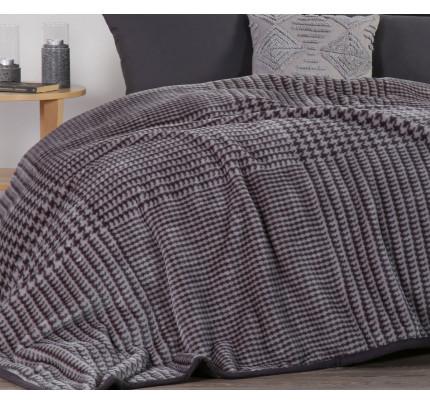 Κουβέρτα Βελουτέ Υπέρδιπλη 220x240 Nef Nef Rooster Grey
