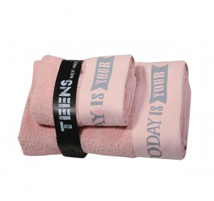 Παδικές Πετσέτες (Σετ 2 Τμχ) Nef Nef Teens Today Is Your Day Pink