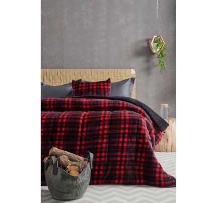 Κουβερτοπάπλωμα Υπέρδιπλο 220X240 Palamaiki Check Blanket Check Red
