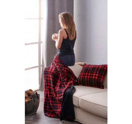 Κουβέρτα Καναπέ 120X150 Palamaiki Check Blanket Check Red