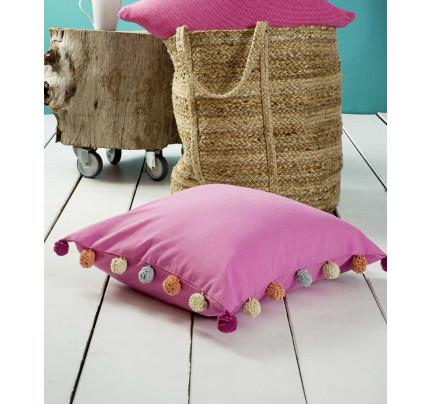 Διακοσμητική Μαξιλαροθήκη 45x45 Pom Pom Nima - Bright Pink