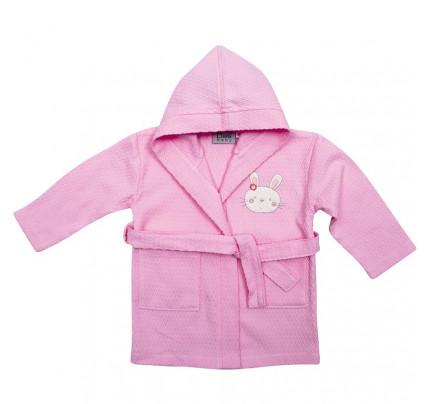Βρεφικό Μπουρνούζι Με Κουκούλα Das Home Smile Embroidery 6387 Ροζ