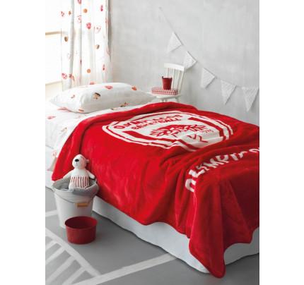 Κουβέρτα Βελουτέ Μονή 160x220 Olympiakos Velour Palamaiki Red