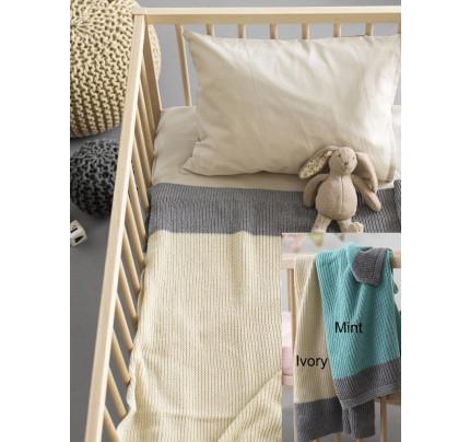 Κουβέρτα Πλεκτή Κούνιας 110x150 Palamaiki Knitted Collection Bicolor Ivory-Grey