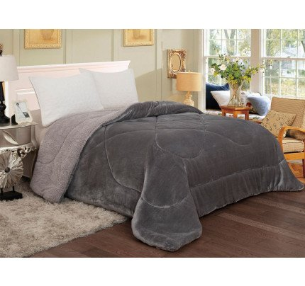 Κουβερτοπάπλωμα 160x220 Μονό Sunshine Coral Flannel-Sherpa Light Grey