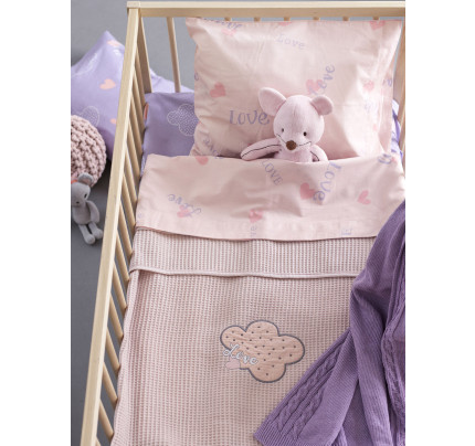 Κουβέρτα Πικέ Κούνιας 100x150 Palamaiki Bebe Blankets Honey Lilac