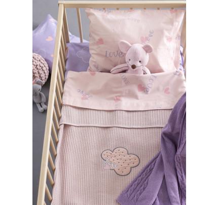 Κουβέρτα Πικέ Αγκαλιάς 80x110 Palamaiki Bebe Blankets Honey Lilac
