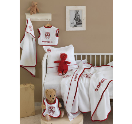 Κουβέρτα Πικέ Κούνιας 120x150 Palamaiki Official Team Licenced Olympiakos Baby Red