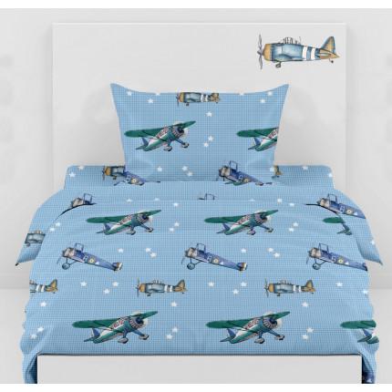 Σεντόνια Μονά 160x260 (Σετ) Airplanes 02