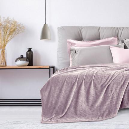 Κουβέρτα Fleece Υπέρδιπλη (Σετ) 220X240 Guy Laroche Rombus Lilac
