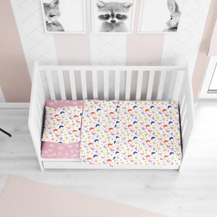Σεντόνια Κούνιας (Σετ) 120X160 Dimcol Butterfly 52 Pink Χωρίς Λάστιχο