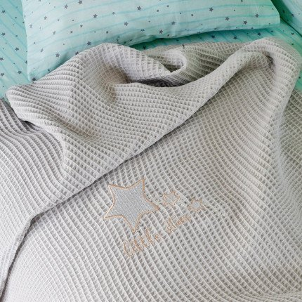 Κουβέρτα Πικέ Κούνιας 100X150 Melinen Little Star Grey Grey