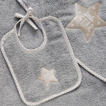 Σαλιάρα 20X25 Melinen Little Star Grey