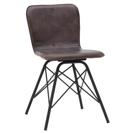 Μεταλλική/Δερμάτινη Καρέκλα Inart 3-50-556-0029