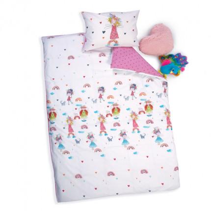 Παπλωματοθήκη Μονή (Σετ) 160X240 Nef Nef Rainbow Girls White/Pink