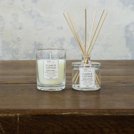 Σετ Αρωματικό Χώρου με Στικ 100ml & Αρωματικό Κερί 130gr - Nima Clean & Cotton