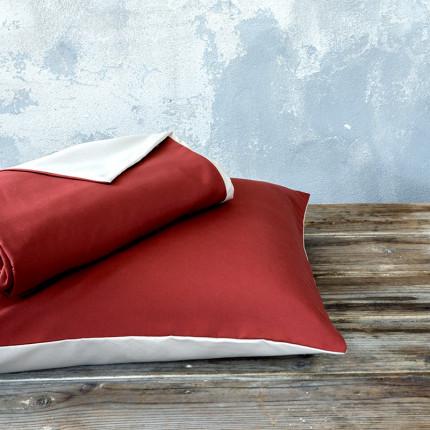 Παπλωματοθήκη Μονή (Σετ) 160X240 Nima Abalone Wine Red / Light Beige
