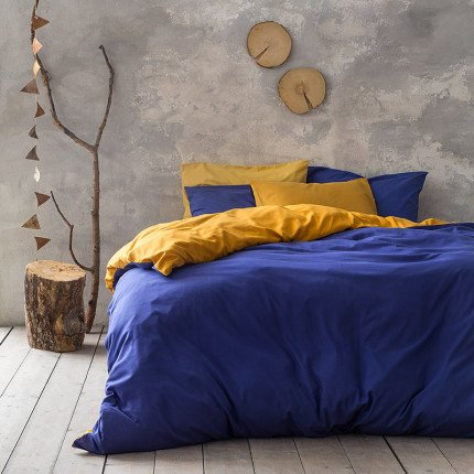 Παπλωματοθήκη Υπέρδιπλη (Σετ) 220X240 Nima Abalone Blue / Mustard Beige