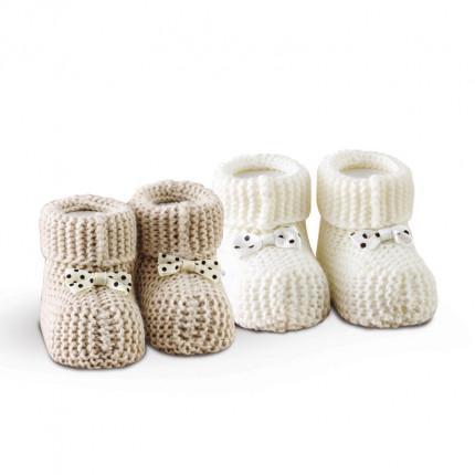 Πλεκτά Παπουτσάκια (Σετ 2 Ζευγ) Sb Home Baby Shoes No2