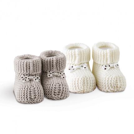 Πλεκτά Παπουτσάκια (Σετ 2 Ζευγ) Sb Home Baby Shoes No7