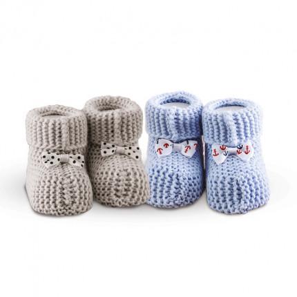 Πλεκτά Παπουτσάκια (Σετ 2 Ζευγ) Sb Home Baby Shoes No8