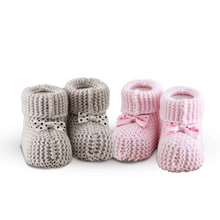 Πλεκτά Παπουτσάκια (Σετ 2 Ζευγ) Sb Home Baby Shoes No9