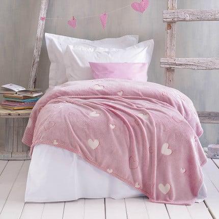 Κουβέρτα Fleece Μονή 160X220 Rythmos Popsile Ροζ