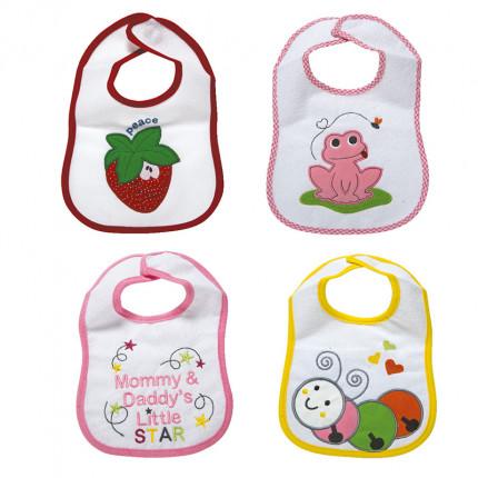 Σαλιάρες (Σετ 4 Τμχ) 25X30 Sb Home Senses Baby Bibs Pink No2