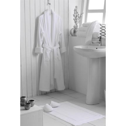 Μπουρνούζι Ξενοδοχείου Πενιέ Λευκό με Γιακά 100% Βαμβάκι