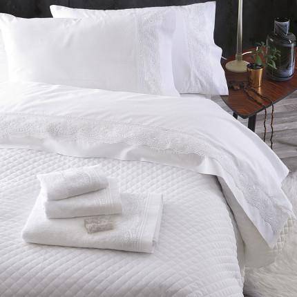 Σεντόνια Υπέρδιπλα (Σετ) Rythmos Shiraz Λευκο Χωρίς Λάστιχο