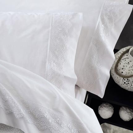Σεντόνια Υπέρδιπλα (Σετ) Rythmos Νενα Λευκο Χωρίς Λάστιχο