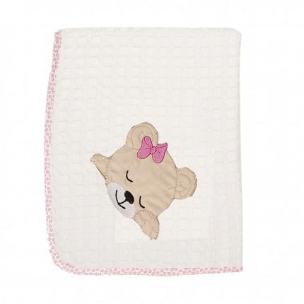 Κουβέρτα Πικέ Λίκνου 80X110 Dimcol Sleeping Bears Cub 12 Ροζ
