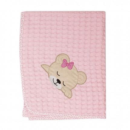 Κουβέρτα Πικέ Κούνιας 100X160 Dimcol Sleeping Bears Cub 13 Ροζ