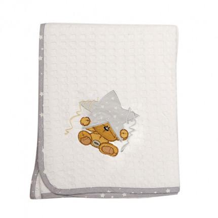 Κουβέρτα Πικέ Κούνιας 100X160 Dimcol Αστερι 124 Γκρι