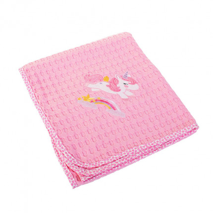 Κουβέρτα Πικέ Κούνιας 100X160 Dimcol Unicorn 41 Ροζ