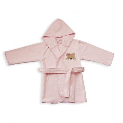Βρεφικό Μπουρνούζι Με Κουκούλα Dimcol Sleeping Bears Cub 14 Ροζ