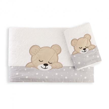 Βρεφικές Πετσέτες (Σετ 2 Τμχ) Dimcol Sleeping Bears Cub 10 Γκρι