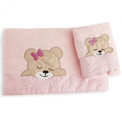 Βρεφικές Πετσέτες (Σετ 2 Τμχ) Dimcol Sleeping Bears Cub 14 Ροζ