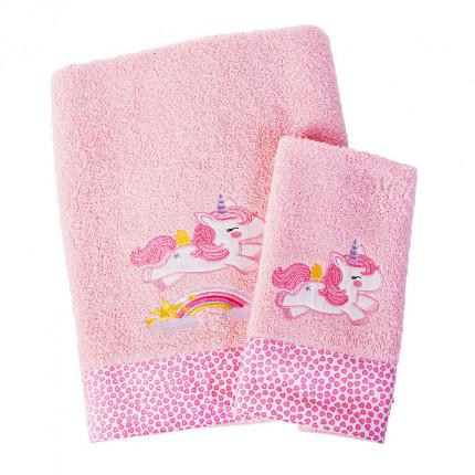 Βρεφικές Πετσέτες (Σετ 2 Τμχ) Dimcol Unicorn 41 Ροζ