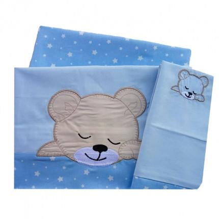Σεντόνια Κούνιας (Σετ) 120X170 Dimcol Sleeping Bears Cub 13 Σιελ Χωρίς Λάστιχο