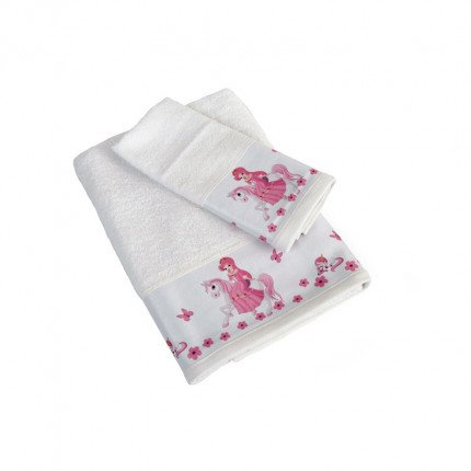 Βρεφικές Πετσέτες (Σετ 2 Τμχ) Dimcol Unicorn Princess 76 Λευκό