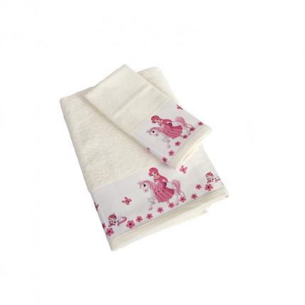 Βρεφικές Πετσέτες (Σετ 2 Τμχ) Dimcol Unicorn Princess 77 Εκρου