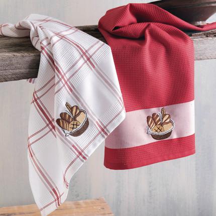 Πετσέτες Κουζίνας Πικέ (Σετ 2 Τμχ) 45X70 Rythmos Basket