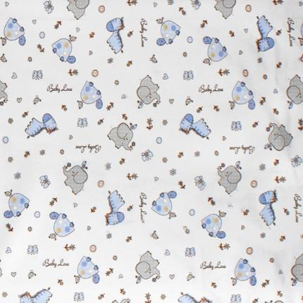 Σεντόνι Μεμονωμένο Λίκνου 80X110 Dimcol Elephant 174 Blue Χωρίς Λάστιχο