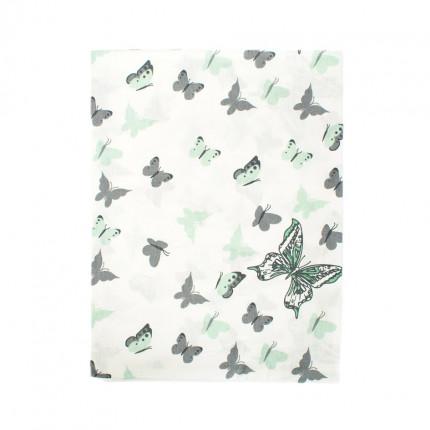 Σεντόνι Λίκνου 80X110 Dimcol Butterfly 57 Green Χωρίς Λάστιχο